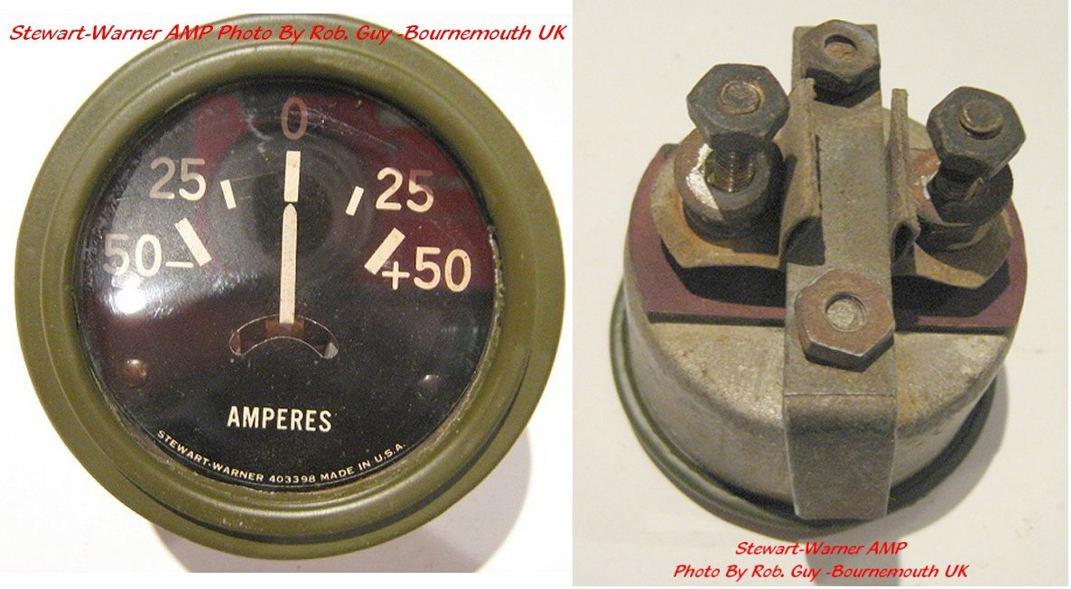Mb And Gpw Speedos And Gauges Stewart Warner Gauge Dash Pods Auto Amp Meter Wiring Diagram On The Short Needle Amp Gauge Shown Below May Be A Very Late ( '45) Gauge The Standard Gauge Is The Long Needle Gauge Shown On The Lower Right